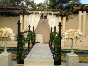 ceremony draping chandelier