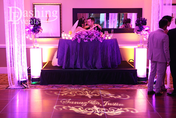 hilton waterfront beach huntington beach sweetheart table gobo and crystal columns
