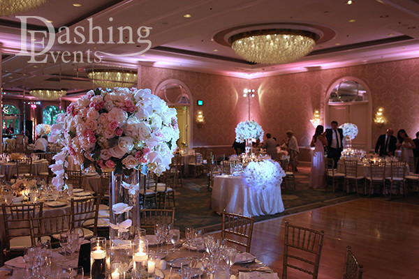 DJ Diary: Pink & Gold Uplighting for Beverly Hills Wedding