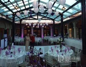 branca patio string lighting white dance floor