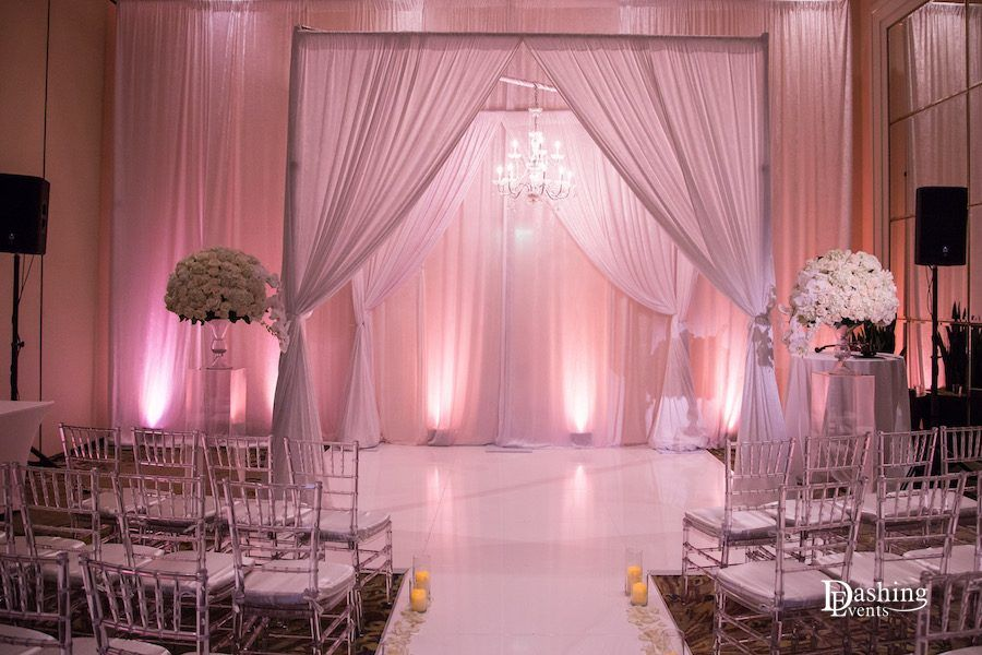 White ceremony draping at Westin Pasadena