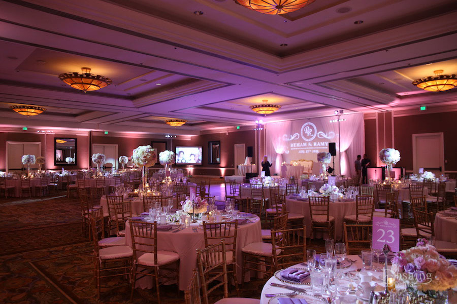 Hilton Waterfront Grand Ballrom Pink Uplighting